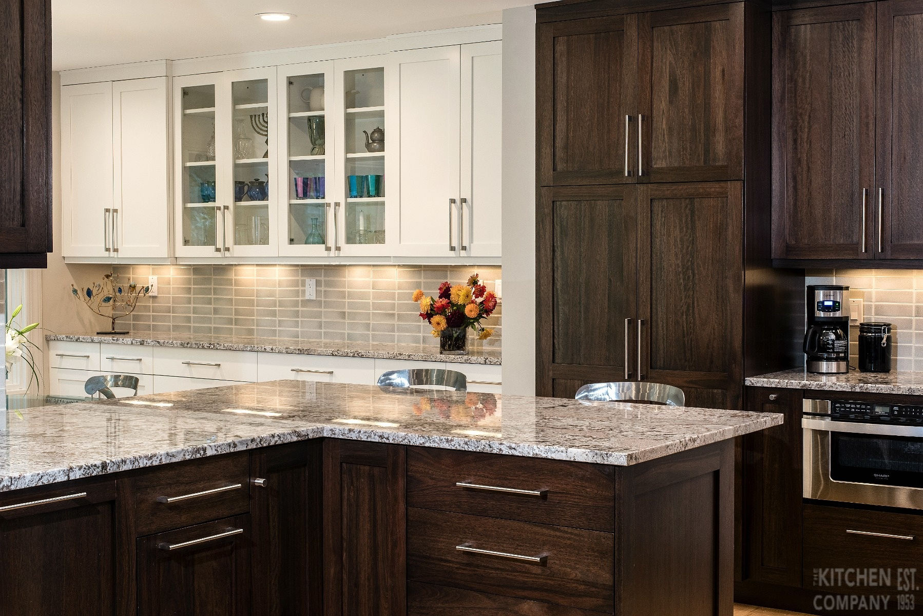 Contemporary Kitchen Remodel In Guilford Ct Dark Wood Cabinets